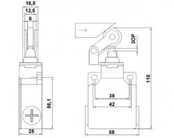Chave Fim de curso Metalico LXK-M121 1NA+1NF