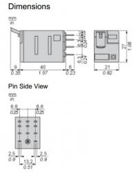 Relé miniatura - Zelio RXM3AB2JD - 3NA+3NF - 12VCC - 10A - C/LED
