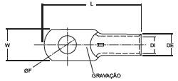 TERMINAL TUBULAR COMPRESSAO PZI-TC-150-13 150MM 1FURO 13MM