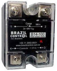 Rele estado solido B14-100 100Amp  Entrada 3-32Vcc - Saida até 480VAC