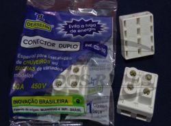Conector Duplo P/Chuveiro CD-10  cabos de  2,5 A 10MM  Até 50amp