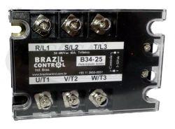 RELE ESTADO SOLIDO TRIF B34-25A ENT. 3-32VDC SAIDA 480VAC 25A