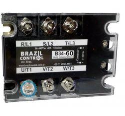 RELE ESTADO SOLIDO TRIF B34-60A ENT. 3-32VDC SAIDA 480VAC 60A