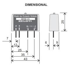 Rele estado solido Loti  C/I DC0540-4A  5VDC - 5 A 40VDC