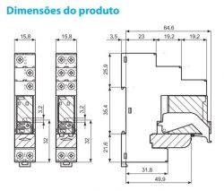 Rele modular de interface Finder  4C01  - 1 Rev. 16A  • Conexão a parafuso