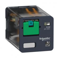 Rele Schneider RUMC22BD 24VCC 10AMP.2REV  C/LED /BOTÃO DE TESTE