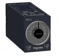 Relé temporizador mini REXL2TMD  5A, 2NA/2NF, 0,1s...100h, atraso na energização, 24VCC