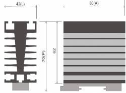 Dissipador B8 P/Reles de estado sólido até 40AMP
